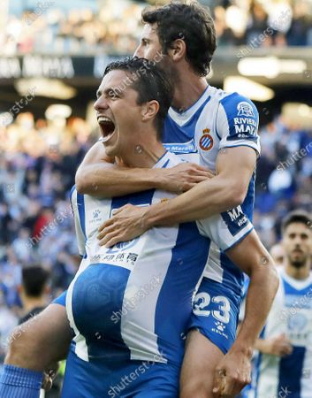 Espanyol's Bernardo Espinosa (L) celebrates with teammate Esteban Granero (R) after scoring the 2-1 lead during the Spanish La Liga soccer match between RCD Espanyol and Real Betis at RCDE Stadium in Barcelona, Spain, 15 December 2019.
