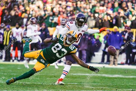 Stock Picture of Green Bay Packers' Marquez Valdes-Scantling can't catch a pass in front of Chicago Bears' Prince Amukamara during the first half of an NFL football game, in Green Bay, Wis
