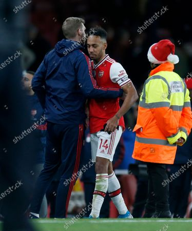 Pierre-Emerick Aubameyang of Arsenal with coach Per Mertesacker after the game