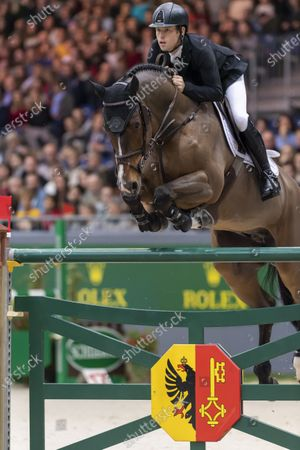 Stock Image of Scott Brash of Britain rides his horse Hello Senator to takes the second place during the FEI Rolex Grand Prix, Grand Slam of Show Jumping at the 59th CHI international horse show jumping tournament in Geneva, 15 December 2019.