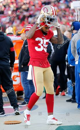 San Francisco 49ers defensive back Dontae Johnson (35) against the Atlanta Falcons during the first half of an NFL football game in Santa Clara, Calif