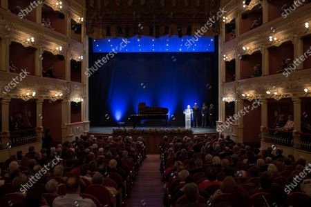 Spanish soprano Ainhoa Arteta performs a concert during the 190th anniversary of the Mahon Main Theater at Mahon Main Theater in Mahon, Balearic Islands, Spain, 15 December 2019.