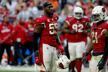 Arizona Cardinals linebacker Chandler Jones (55) against the Cleveland Browns during the second half of an NFL football game, in Glendale, Ariz