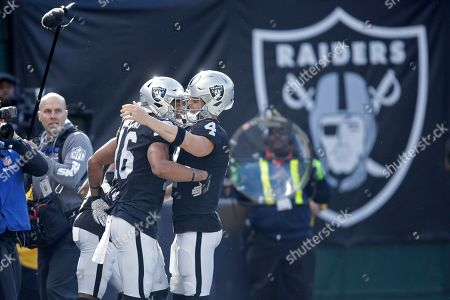 Derek Carr, Tyrell Williams. Oakland Raiders wide receiver Tyrell Williams (16) is greeted by quarterback Derek Carr after scoring a touchdown during the first half of an NFL football game against the Jacksonville Jaguars in Oakland, Calif