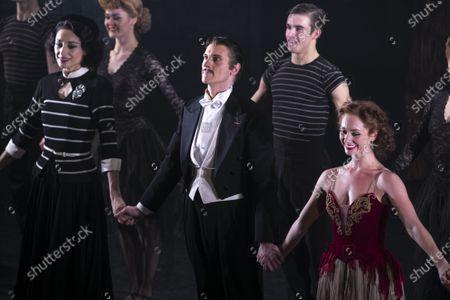 Michela Meazza (Irina), Adam Cooper (Boris Lermontov) and Ashley Shaw (Victoria Page) during the curtain call