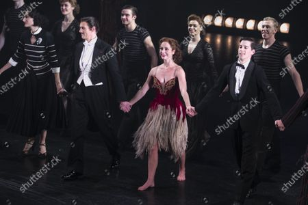 Michela Meazza (Irina), Adam Cooper (Boris Lermontov), Ashley Shaw (Victoria Page) and Dominic North (Julian Craster) during the curtain call
