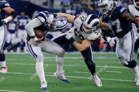 Los Angeles Rams outside linebacker Clay Matthews (52) attempts to tackle Dallas Cowboys quarterback Dak Prescott (4) during an NFL football game in Arlington, Texas