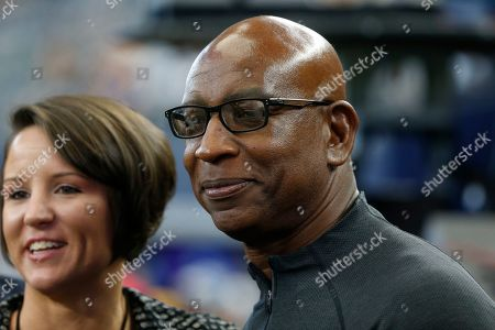Former NFL running back Eric Dickerson is pictured before an NFL football game between the Los Angeles Rams and the Dallas Cowboys in Arlington, Texas