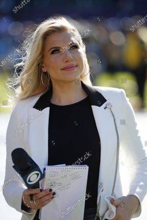 CBS sideline reporter Melanie Collins in action during the NFL game between the Los Angeles Chargers and the Minnesota Vikings at the Dignity Health Sports Park in Carson, California