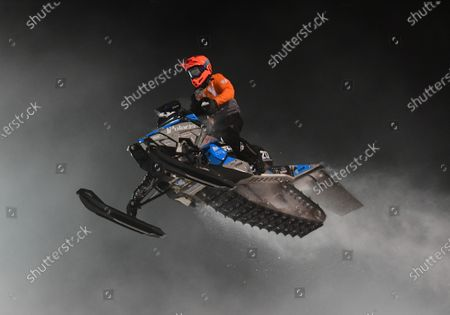 Stock Photo of Professional Pro Lite Snocross racer Jay Lura competes at the Country Cat SnoCross National, an ISOC Amsoil Championship SnoCross event, held at Buffalo River Race Park, Glyndon, MN