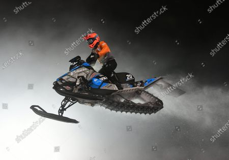Stock Picture of Professional Pro Lite Snocross racer Jay Lura competes at the Country Cat SnoCross National, an ISOC Amsoil Championship SnoCross event, held at Buffalo River Race Park, Glyndon, MN