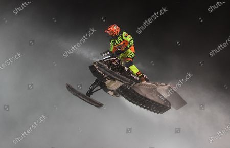 Stock Image of Professional Pro Lite Snocross racer Taylor Cole competes at the Country Cat SnoCross National, an ISOC Amsoil Championship SnoCross event, held at Buffalo River Race Park, Glyndon, MN