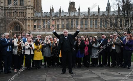 Leader of the Scottish National Party (SNP) in the House of Commons Ian Blackford with his SNP Party MP's outside parliament in London, Britain, 16 December 2019. The SNP won 47 seats in Scotland in last weeks general election.