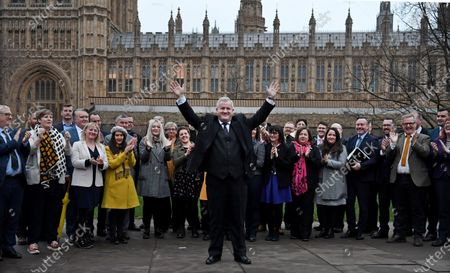 Leader of the Scottish National Party (SNP) in the House of Commons, Ian Blackford gestures in front of SNP's Members of Parliament (MPs), outside parliament in Westminster, London, Britain, 16 December 2019. The SNP won 47 seats in Scotland in last week's general election.