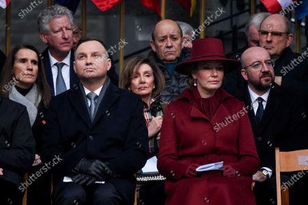 Stock Photo of Pieter De Crem, Sophie Wilmes, Koen Geens, Nancy Pelosi, Charles Michel, Andrzej Duda and Queen Mathilde