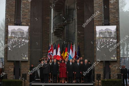 Mark Esper, Andrej Duda, Queen Mathilde, King Philippe, Grand Duke Henri, Frank-Walter Steinmeier, Leah Esper, Sophie Wilmes, Nancy Pelosi, Charles Michel, Xavier Bettel. U.S. Secretary of Defence Mark Esper, Poland's President Andrej Duda, Belgium's Queen Mathilde, Belgium's King Philippe, Luxembourg's Grand Duke Henri, German President Frank-Walter Steinmeier, front row from left, and Leah Esper, spouse of Mark Esper, Belgium's Prime Minister Sophie Wilmes, U.S. Speaker of the House Nancy Pelosi, European Council President Charles Michel and Luxembourg's Prime Minister Xavier Bettel, second row from left, and other authorities listen to national anthems during a ceremony to commemorate the 75th anniversary of the Battle of the Bulge at the Mardasson Memorial in Bastogne, Belgium on . The Battle of the Bulge, also called Battle of the Ardennes, took place between Dec. 1944 and Jan. 1945 and was the last major German offensive on the Western Front during World War II