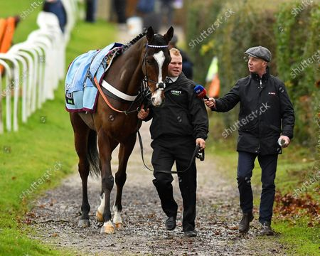 Sky presenter Luke Harvey interviews the Lad of Diablo De Rouhet on the way to the Parade Ring during Horse Racing at Plumpton Racecourse on 16th December 2019