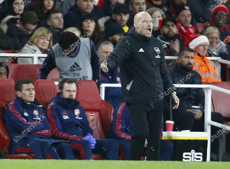 LONDON, United Kingdom, .Interim Head Coach Freddie Ljungberg of Arsenal during English Premier League between Arsenal and Manchester City at Emirates stadium , London, England on 15 December 2019. (Photo by AFS/Espa-Images)