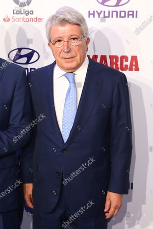 President of Atletico de Madrid, Enrique Cerezo, poses as he arrives to attend the MARCA soccer awards in Madrid, Spain, 16 December 2019. A total of 14 awards will be granted to players, coaches and referees that took part in professional soccer competitions during the past season.