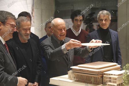 British architect Norman Foster (C) presents the last progress in his project for the renovation and extension of the Fine Arts Museum next to mayor Juan Mari Aburto (L), and Spanish architect Luis Maria Uriarte (2-L) in Bilbao, Spain, 16 December 2019. Foster and Partners have won the international competition to design the new Bilbao Fine Arts Museum in summer 2019.