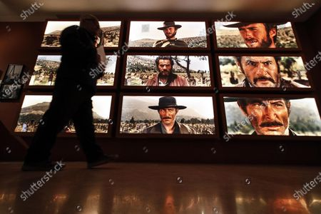 Clint Eastwood, Eli Wallach and Lee Van Cleef appear on screens in the three-way standoff in 'The Good, the Bad and the Ugly' on display in the exhibition 'C'era una volta Sergio Leone', in Ara Pacis museum in Rome, Italy, 16 December 2019. The exhibition running from 17 December to 03 May 2020 pays tribute to Italian film director, producer and screenwriter Sergio Leone (1929-1989).