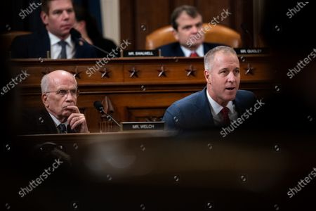 United States Representative Sean Patrick Maloney (Democrat of New York), right, with United States Representative Peter Welch (Democrat of Vermont), left, speaks during a US House Intelligence Committee impeachment inquiry hearing with Laura Cooper, deputy assistant secretary of defense for Russia, Ukraine and Eurasia, and David Hale, undersecretary of state for political affairs, on Capitol Hill