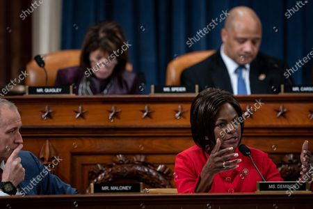 United States Representative Val Demings (Democrat of Florida), right, with US Representative Sean Patrick Maloney (Democrat of New York), left, speaks during a US House Intelligence Committee impeachment inquiry hearing with Laura Cooper, deputy assistant secretary of defense for Russia, Ukraine and Eurasia, and David Hale, undersecretary of state for political affairs, on Capitol Hill