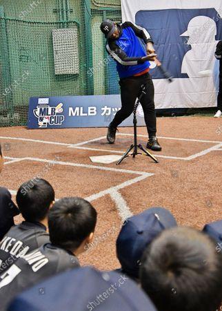 Professional baseball right fielder, free agent Yasiel Puig at Meiji Jingu Gaien
