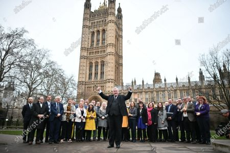 SNP Westminster leader Ian Blackford with 48 Newly elected SNP MPs at a photocall near the Houses of Parliament