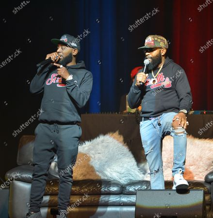 Comedian Karlous Miller and Chico Bean perform on stage during the 85 South improvs and freestyles comedy show at James L. Knight Center, Miami.