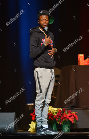 Comedian DC Young Fly performs on stage during the 85 South improvs and freestyles comedy show at James L. Knight Center, Miami.
