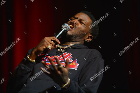 Comedian Karlous Miller performs on stage during the 85 South improvs and freestyles comedy show at James L. Knight Center, Miami.
