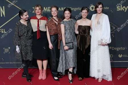 Meret Becker, Jenny Schily, Leonie Benesch, Hannah Herzsprung, Liv Lisa Fries and Fritzi Haberland pose during the premiere of the third season of the TV series 'Babylon Berlin' at the Zoo Palast in Berlin, Germany, 16 December 2019. The German crime drama is based on novels by author Volker Kutscher.
