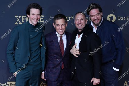 Stock Photo of German actors Sabin Tambrea, Volker Bruch, Benno Fuermann and Ronald Zehrfeld pose during the premiere of the third season of the TV series 'Babylon Berlin' at the Zoo Palast in Berlin, Germany, 16 December 2019. The German crime drama is based on novels by author Volker Kutscher.