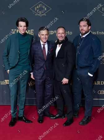 German actors Sabin Tambrea, Volker Bruch, Benno Fuermann and Ronald Zehrfeld pose during the premiere of the third season of the TV series 'Babylon Berlin' at the Zoo Palast in Berlin, Germany, 16 December 2019. The German crime drama is based on novels by author Volker Kutscher.
