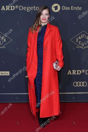 Stock Image of Saskia Rosendahl poses during the premiere of the third season of the TV series 'Babylon Berlin' at the Zoo Palast in Berlin, Germany, 16 December 2019. The German crime drama is based on novels by author Volker Kutscher.
