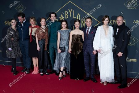 Stock Image of Meret Becker, Ronald Zehrfeld, Jenny Schily, Leonie Benesch, Sabin Tambrea, Hannah Herzsprung, Liv Lisa Fries, Volker Bruch, Fritzi Haberlandt and Benno Fürmann pose during the premiere of the third season of the TV series 'Babylon Berlin' at the Zoo Palast in Berlin, Germany, 16 December 2019. The German crime drama is based on novels by author Volker Kutscher.