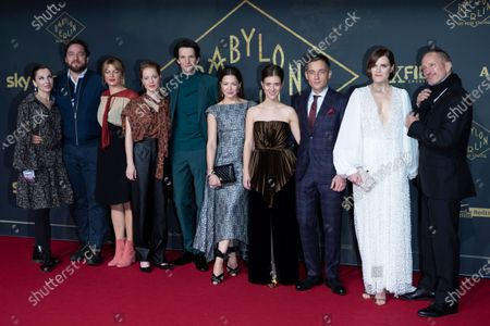 Stock Photo of Meret Becker, Ronald Zehrfeld, Jenny Schily, Leonie Benesch, Sabin Tambrea, Hannah Herzsprung, Liv Lisa Fries, Volker Bruch, Fritzi Haberlandt and Benno Fürmann pose during the premiere of the third season of the TV series 'Babylon Berlin' at the Zoo Palast in Berlin, Germany, 16 December 2019. The German crime drama is based on novels by author Volker Kutscher.