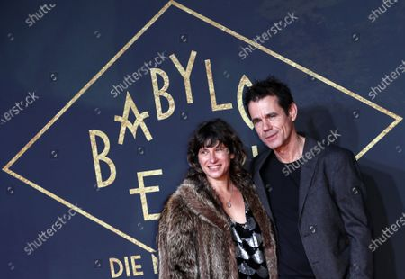 Tom Tykwer (R) and his wife Marie Steinmann (L) pose during the premiere of the third season of the TV series 'Babylon Berlin' at the Zoo Palast in Berlin, Germany, 16 December 2019. The German crime drama is based on novels by author Volker Kutscher.