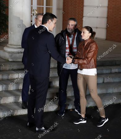 Acting Spanish Prime Minister Pedro Sanchez (L) welcomes Spain's national handball team captain Silvia Navarro (R) and teammates during a welcome ceremony after their silver medal following the IHF Women's World Championship in Japan at Moncloa Palace in Madrid, Spain, 16 December 2019. Netherlands won Spain by 29-30 during the IHF Women's World Championship final match in Japan.