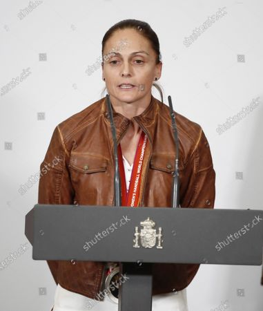Stock Picture of Spain's national handball team captain Silvia Navarro delivers a speech during a welcome ceremony with Acting Spanish Prime Minister Pedro Sanchez (not pictured) after their silver medal following the IHF Women's World Championship in Japan at Moncloa Palace in Madrid, Spain, 16 December 2019. Netherlands won Spain by 29-30 during the IHF Women's World Championship final match in Japan.