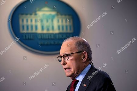 Director of the National Economic Council Larry Kudlow speaks during a television interview in the James S. Brady Press Briefing Room at the White House