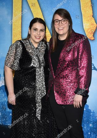"""Beanie Feldstein, Bonnie Chance Roberts. Beanie Feldstein, left, and Bonnie Chance Roberts attend the world premiere of """"Cats"""" at Alice Tully Hall, in New York"""