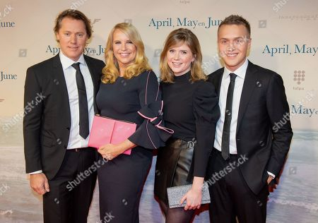 Linda de Mol with her partner Jeroen Rietbergen, son Julian Vahle and daughter Noa Vahle