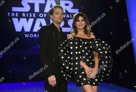 """Matthew Rhys, Keri Russell. Matthew Rhys, left, and Keri Russell arrive at the world premiere of """"Star Wars: The Rise of Skywalker"""", in Los Angeles"""