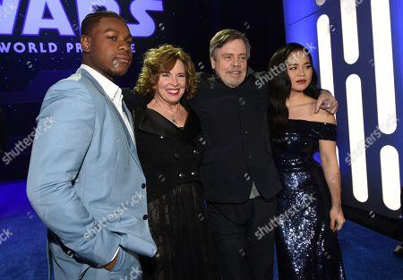 "John Boyega, Marilou York, Mark Hamill, Kelly Marie Tran. John Boyega, from left, Marilou York, Mark Hamill and Kelly Marie Tran arrive at the world premiere of ""Star Wars: The Rise of Skywalker"", in Los Angeles"