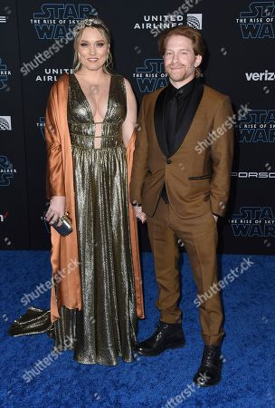"""Clare Grant, Seth Green. Clare Grant, left, and Seth Green arrive at the world premiere of """"Star Wars: The Rise of Skywalker"""", in Los Angeles"""
