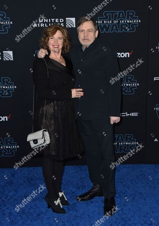 """Marilou York, Mark Hamill. Mark Hamill, right, and Marilou York arrive at the world premiere of """"Star Wars: The Rise of Skywalker"""", in Los Angeles"""