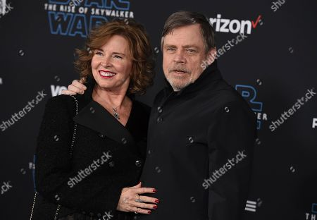 """Mark Hamill, Marilou York. Mark Hamill, right, and Marilou York arrive at the world premiere of """"Star Wars: The Rise of Skywalker"""", in Los Angeles"""