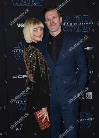 """Jaime King, Kyle Newman. Jaime King, left, and Kyle Newman arrive at the world premiere of """"Star Wars: The Rise of Skywalker"""", in Los Angeles"""